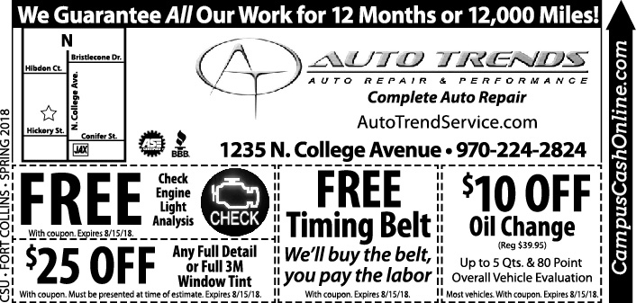 Auto Trends Campus Cash Coupons A Web Coupon Brought To You By